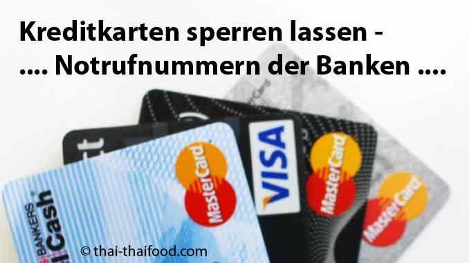 Kreditkarten Notruf